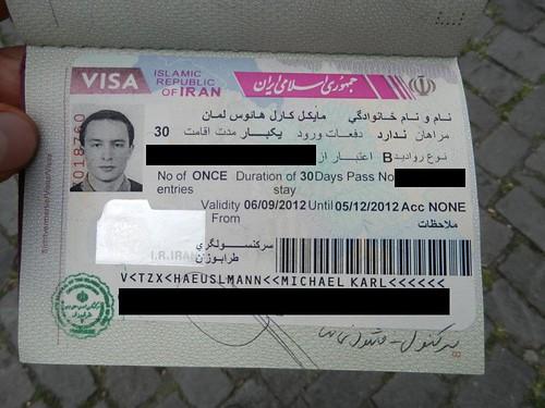 My Iran visa from Trabzon