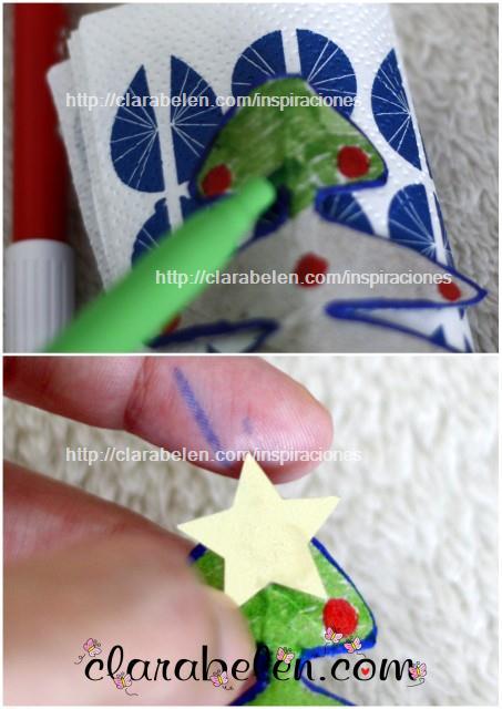 Cómo hacer pequeños árboles de Navidad para adorno o servilletero con rollos de cartón y esmaltes de uñas
