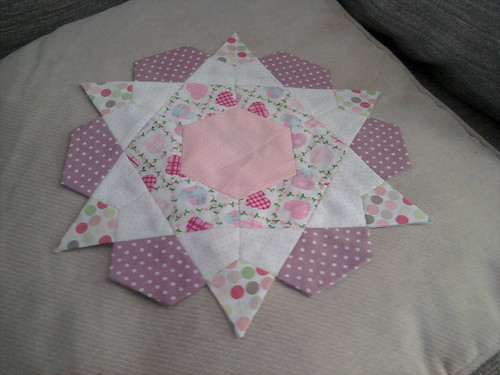 Rose Star Block Cushion progress