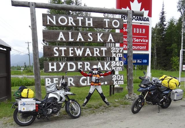 Sara & Bikes North to Alaska Sign