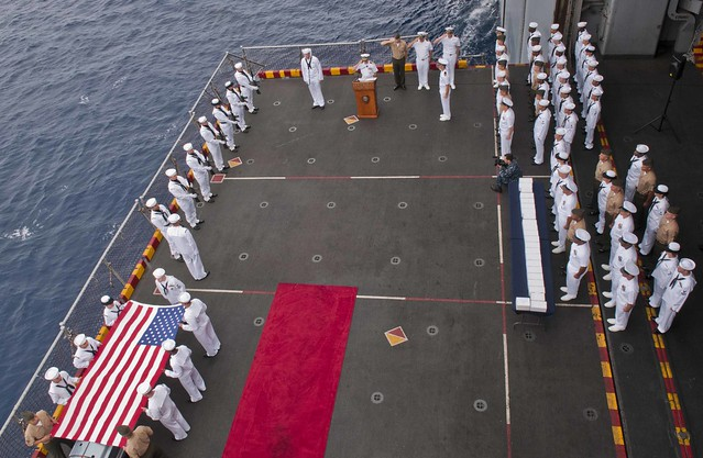 USS Peleliu Conducts Burial At Sea