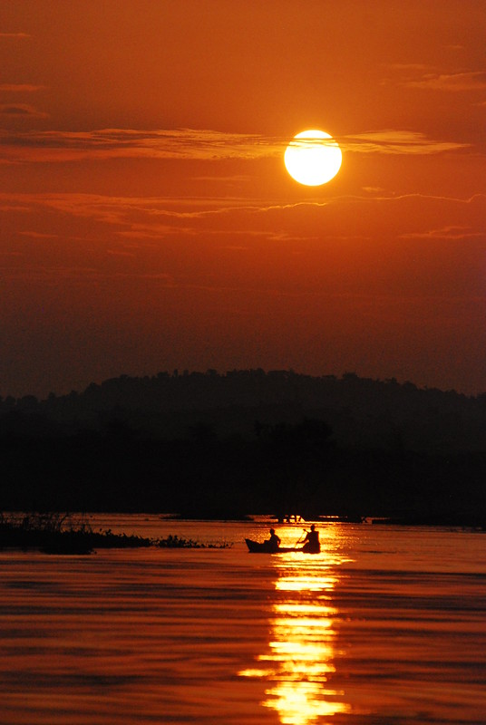 Fishermen by sunset on the Nile