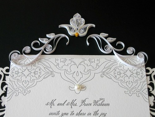 Wedding Invitation Mat with Pearlized Quilling