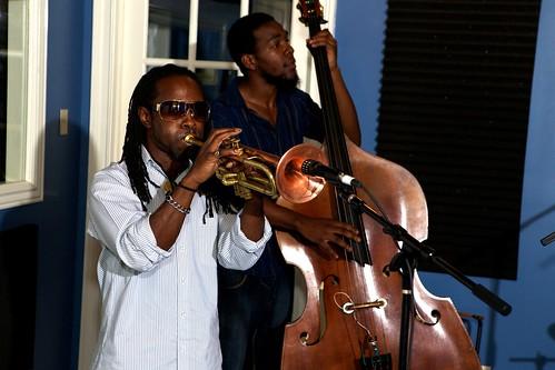The Mario Abney Quintet playing live: Mario Abney and Gary Washington.