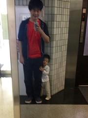 鏡にあいさつ、ちょっと恥ずかしがるとらちゃん (2012/9/27)