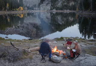 Campfire at the lake's edge