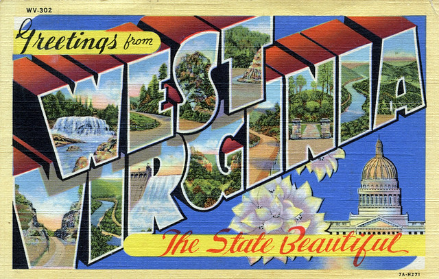 Greetings from West Virginia, The State Beautiful - Large Letter Postcard