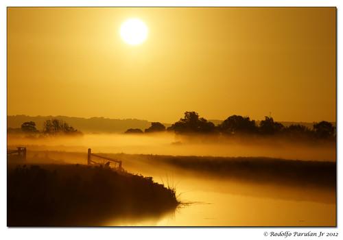 shadow sun mist reflection misty sunrise river blinkagain