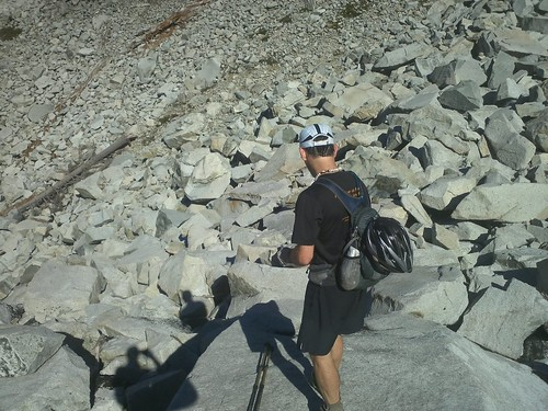 Bill checking out a pika on the boulder field