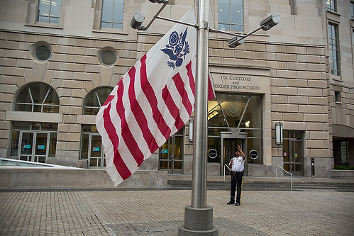 The CBP flag is raised to half-staff to honor fallen Border Patrol Agent Nicholas J. Ivie