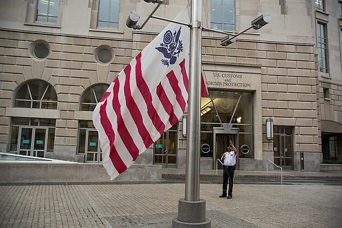 The CBP flag is raised to half-staff to honor fallen Border Patrol Agent Nicholas J. Ivie