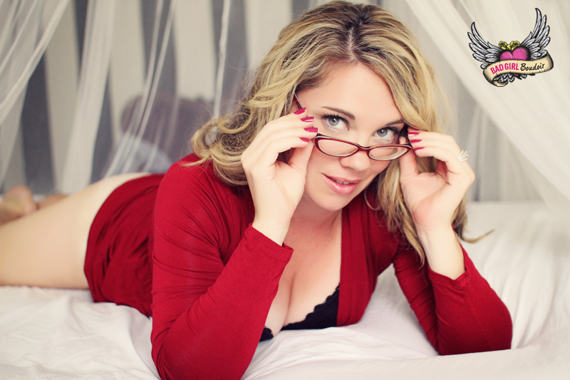 Sexy Woman in Red Dress and Glasses Boudoir // Boudoir Outfit Ideas