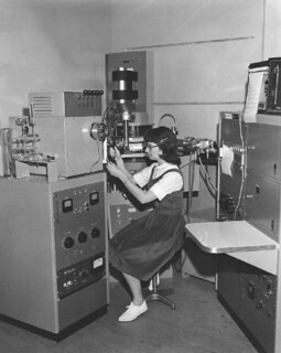 Student using the mass spectrometer in Seaver North in 1965