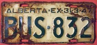 ALBERTA 1946 (EX-31-3-47) ---BUS LICENSE PLATE