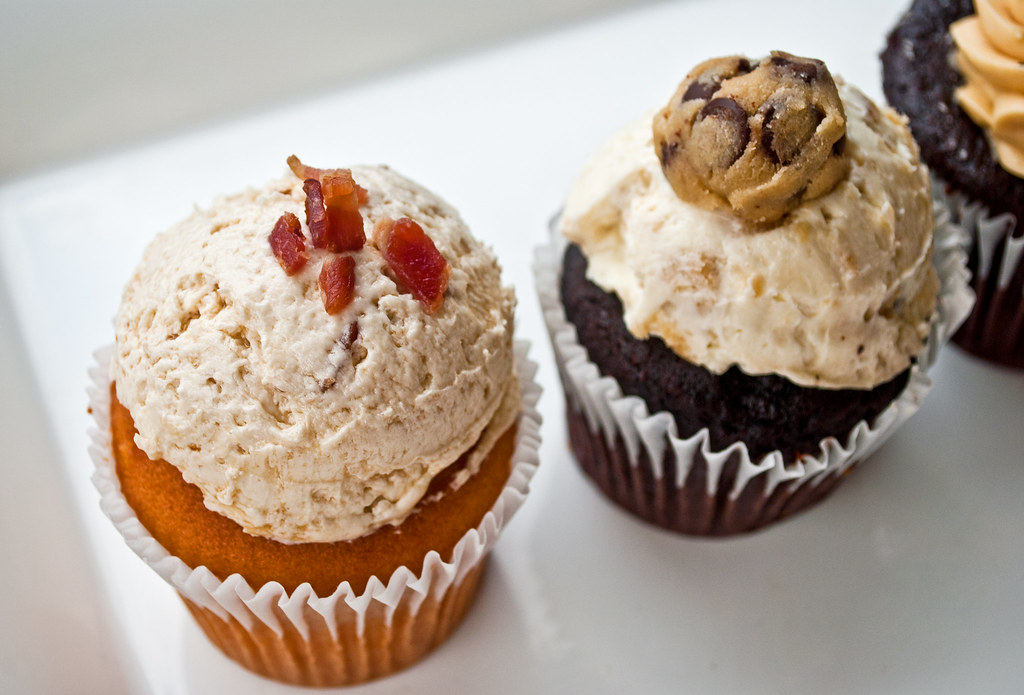 Whiskey Bacon Cookie Dough Cupcakes