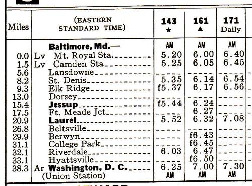 B-O Camden 1960 Schedule