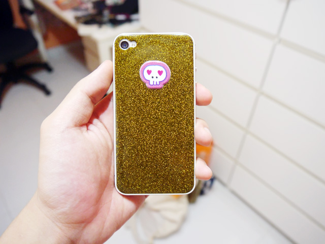 iphone gold and black glitter sticker back
