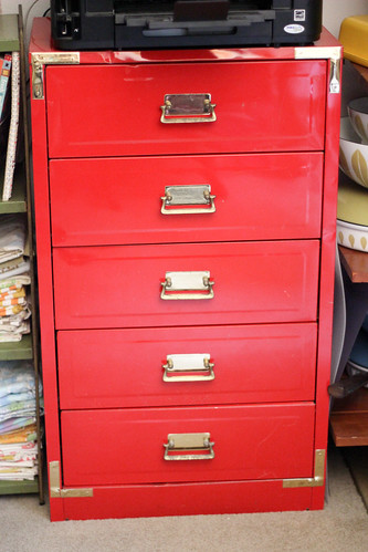 Red Metal Chest of Drawers by Jeni Baker