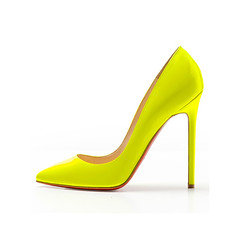 heel(0.0), orange(0.0), outdoor shoe(0.0), textile(0.0), limb(0.0), leg(0.0), basic pump(1.0), footwear(1.0), yellow(1.0), shoe(1.0), high-heeled footwear(1.0), leather(1.0),
