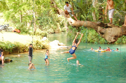 Swinging from Trees in Vang Vieng, Laos