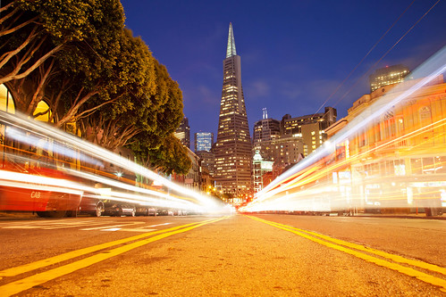 Unnatural High (Transamerica Pyramid Light Trails), San Francisco by flatworldsedge