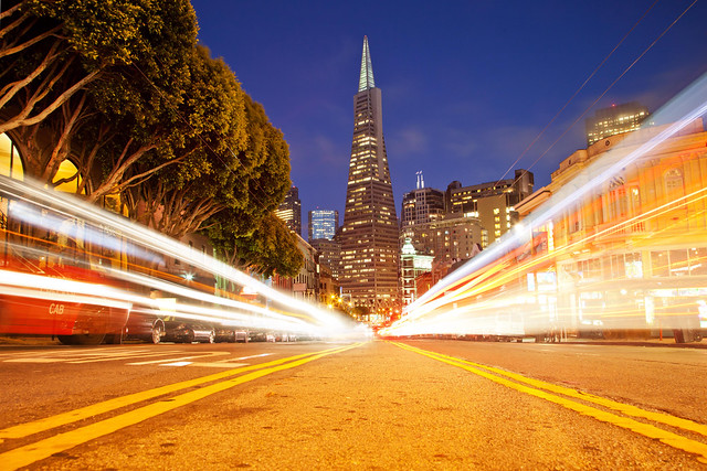 Unnatural High (Transamerica Pyramid Light Trails), San Francisco