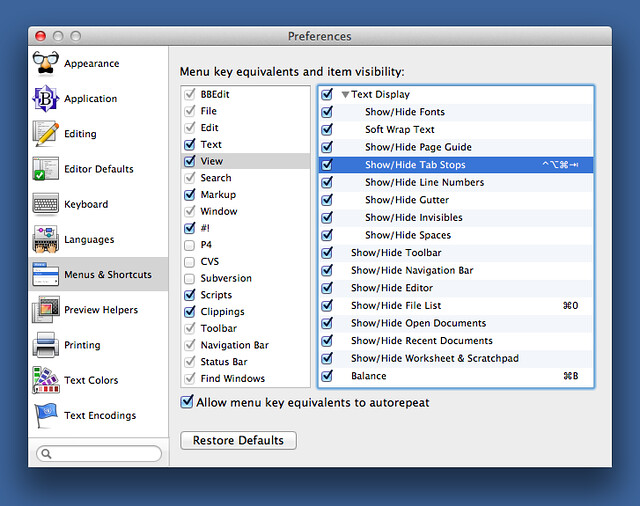 BBEdit Menu & Shortcuts preferences