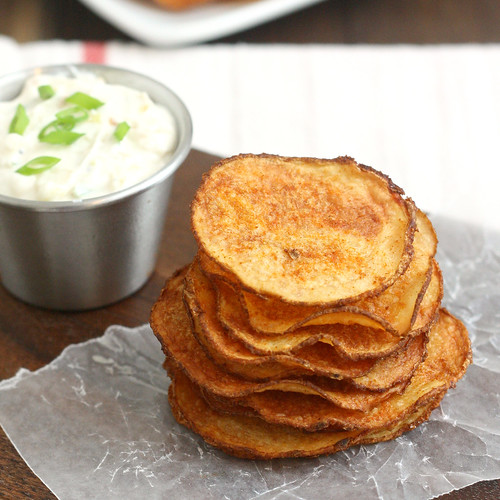 Homemade Baked Smoked Paprika Potato Chips with Triple Onion Dip ...