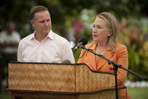 Secretary Clinton and Prime Minister John Key of New Zealand participate in a joint press availability at the Pacific Islands Forum in Rarotonga, Cook Islands, August 31, 2012.