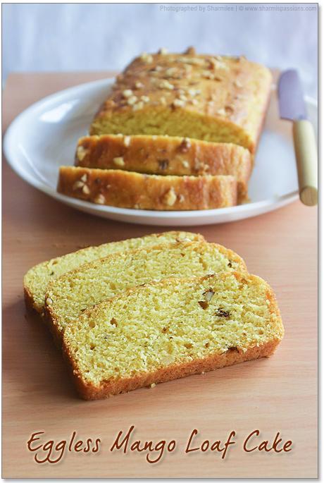 Eggless Mango Cake / Mango Loaf Bread Recipe