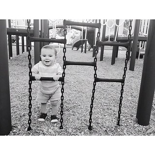Big man on the playground. We spent hours here, when Ezra was a newborn. Isaac seems HUGE now.