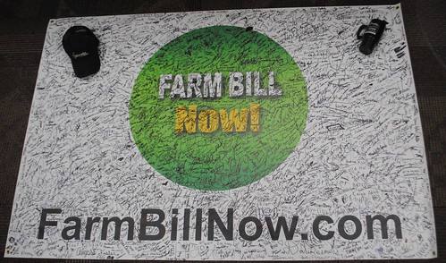Farm Bill Now banner with signatures of support.