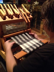 Weaving with my Mom, Action shot 1