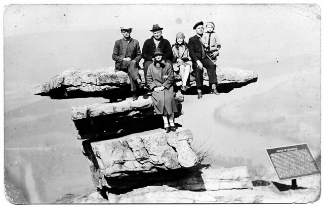 the Mark Beck family, sitting on Umbrella Rock