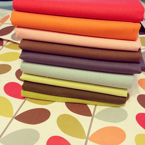 Solids chosen...now to add prints! #quilting #orlakiely
