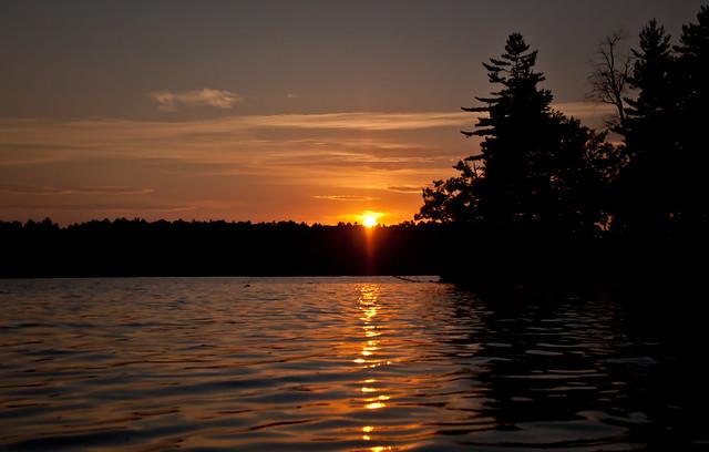 orange sunset on lake cobbosseecontee