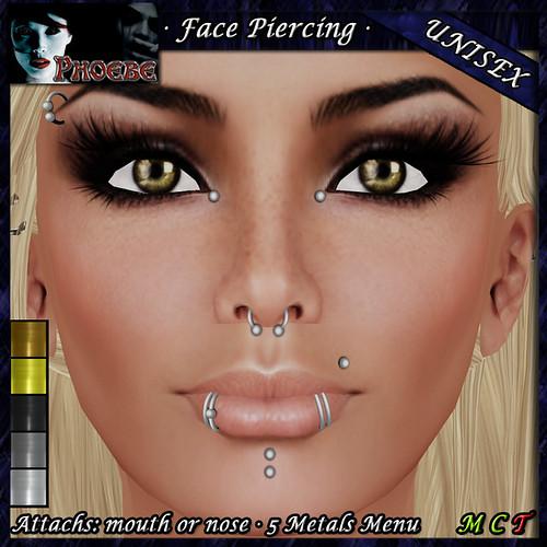 P Unisex Face Piercing ~ Serie K5 ~ 5 Metals