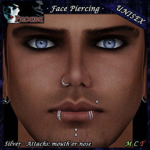 P Unisex Face Piercing ~ Serie P3 ~ Silver