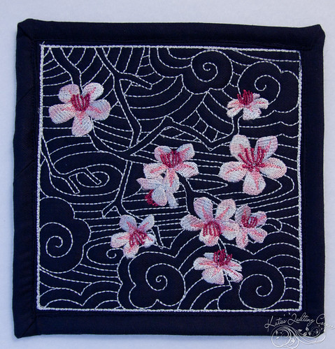 A mini quilt for a swap - sashiko with embroidered cherry blossoms
