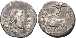 460/2 Caecilia Denarius. SCIPIO IMP CRASSVS Jupiter, eagle head; Scales, cornucopiae, curule chair, corn-ear. AM#1269-35 18mm 3g50