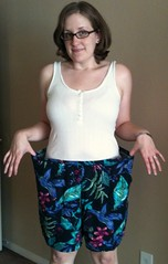 Blue Floral Shorts-to-Skirt Refashion - Before