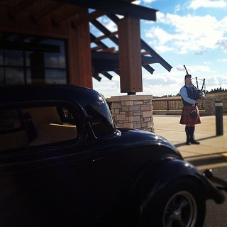 Why yes, yes that is a gangster car and a welcoming bagpiper! My groom is in a kilt too! #cantstopsmiling