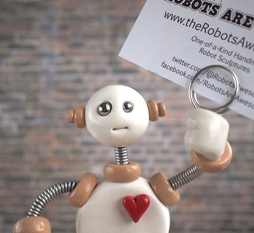 White Wilbo - Robot Wire Photo Holder by HerArtSheLoves