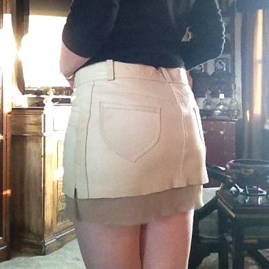 Resurrected leather skirt (rear) from tag sale in Brookville