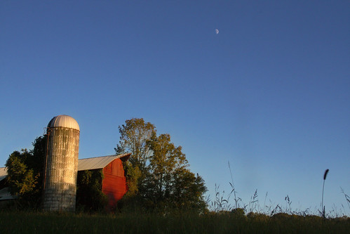 road county new blue trees sunset red sky moon overgrown barn rural farm empty country nj scene rosemont silo jersey rd ringoes hunterdon sergeantsville