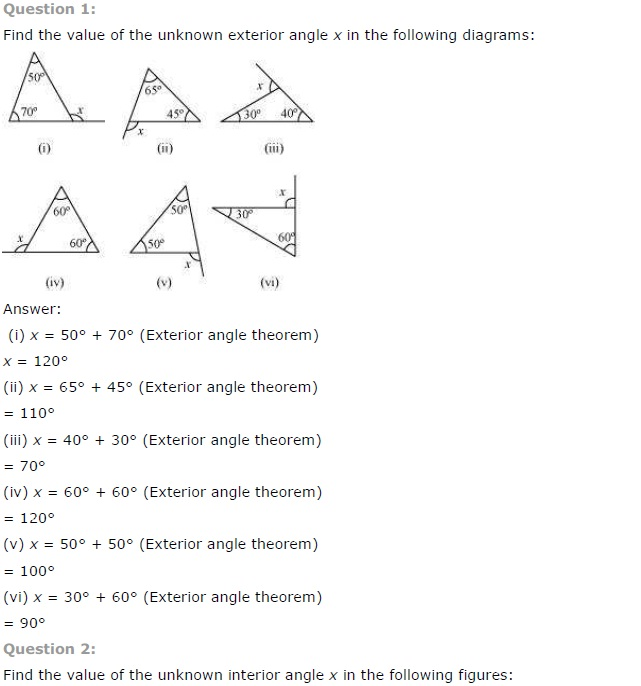 NCERT Solutions for Class 7th Maths Chapter 6 The Triangle and – Properties of Solutions Worksheet