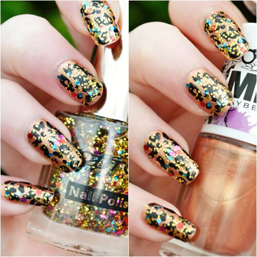 glittery leopard print nails