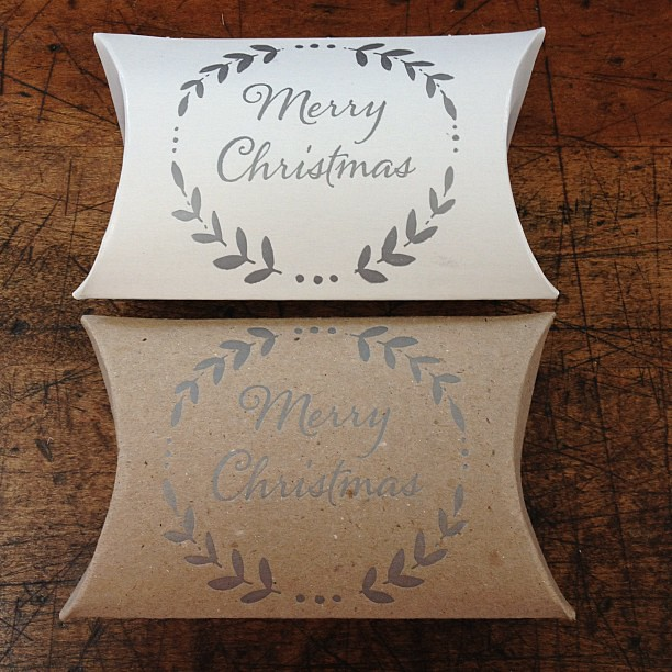 Merry Christmas pillow boxes in silver ink. Perfect for small trinkets and stocking stuffers! #letterpress #stockingstuffer