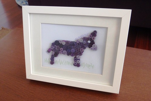 DONKEY BUTTON ART - completed and framed