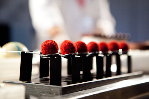 Pastry Chef Francisco Migoya's red velvet cake truffles filled with liquified red velvet cake ganache